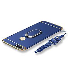 Coque Bumper Luxe Metal et Plastique Etui Housse avec Support Bague Anneau et Laniere pour Huawei Honor 7C Bleu