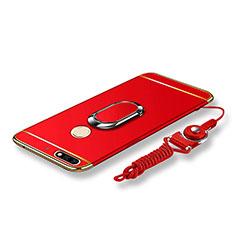 Coque Bumper Luxe Metal et Plastique Etui Housse avec Support Bague Anneau et Laniere pour Huawei Honor 7C Rouge