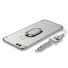 Coque Bumper Luxe Metal et Plastique Etui Housse avec Support Bague Anneau et Laniere pour Huawei Honor 7X Argent