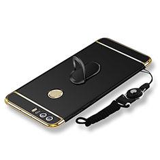 Coque Bumper Luxe Metal et Plastique Etui Housse avec Support Bague Anneau et Laniere pour Huawei Honor 8 Noir