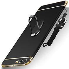 Coque Bumper Luxe Metal et Plastique Etui Housse avec Support Bague Anneau et Laniere pour Huawei Honor 9 Premium Noir