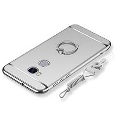 Coque Bumper Luxe Metal et Plastique Etui Housse avec Support Bague Anneau et Laniere pour Huawei Honor X5 Argent
