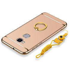 Coque Bumper Luxe Metal et Plastique Etui Housse avec Support Bague Anneau et Laniere pour Huawei Honor X5 Or
