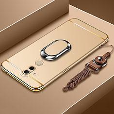 Coque Bumper Luxe Metal et Plastique Etui Housse avec Support Bague Anneau et Laniere pour Huawei Mate 20 Lite Or