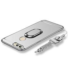 Coque Bumper Luxe Metal et Plastique Etui Housse avec Support Bague Anneau et Laniere pour Huawei Nova 2 Argent