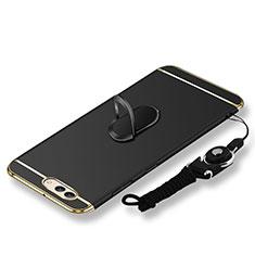 Coque Bumper Luxe Metal et Plastique Etui Housse avec Support Bague Anneau et Laniere pour Huawei Nova 2S Noir