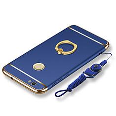 Coque Bumper Luxe Metal et Plastique Etui Housse avec Support Bague Anneau et Laniere pour Huawei Nova Bleu