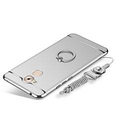 Coque Bumper Luxe Metal et Plastique Etui Housse avec Support Bague Anneau et Laniere pour Huawei Nova Smart Argent