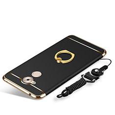 Coque Bumper Luxe Metal et Plastique Etui Housse avec Support Bague Anneau et Laniere pour Huawei Nova Smart Noir