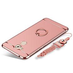 Coque Bumper Luxe Metal et Plastique Etui Housse avec Support Bague Anneau et Laniere pour Huawei Nova Smart Or Rose
