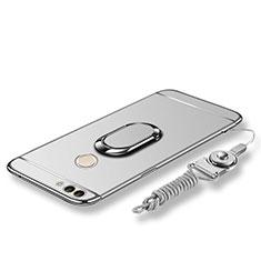 Coque Bumper Luxe Metal et Plastique Etui Housse avec Support Bague Anneau et Laniere pour Huawei P Smart Argent