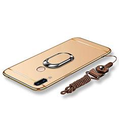 Coque Bumper Luxe Metal et Plastique Etui Housse avec Support Bague Anneau et Laniere pour Huawei P20 Lite Or