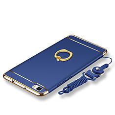 Coque Bumper Luxe Metal et Plastique Etui Housse avec Support Bague Anneau et Laniere pour Huawei P8 Lite Bleu
