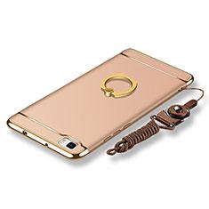 Coque Bumper Luxe Metal et Plastique Etui Housse avec Support Bague Anneau et Laniere pour Huawei P8 Lite Or