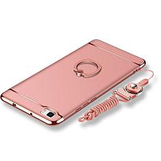 Coque Bumper Luxe Metal et Plastique Etui Housse avec Support Bague Anneau et Laniere pour Huawei P8 Lite Or Rose