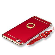 Coque Bumper Luxe Metal et Plastique Etui Housse avec Support Bague Anneau et Laniere pour Huawei P8 Lite Rouge