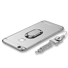 Coque Bumper Luxe Metal et Plastique Etui Housse avec Support Bague Anneau et Laniere pour Huawei P9 Lite Argent
