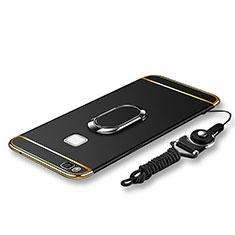 Coque Bumper Luxe Metal et Plastique Etui Housse avec Support Bague Anneau et Laniere pour Huawei P9 Lite Noir
