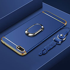 Coque Bumper Luxe Metal et Plastique Etui Housse avec Support Bague Anneau et Laniere pour Huawei Y5 (2018) Bleu