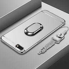 Coque Bumper Luxe Metal et Plastique Etui Housse avec Support Bague Anneau et Laniere pour Huawei Y5 Prime (2018) Argent