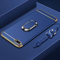 Coque Bumper Luxe Metal et Plastique Etui Housse avec Support Bague Anneau et Laniere pour Huawei Y5 Prime (2018) Bleu