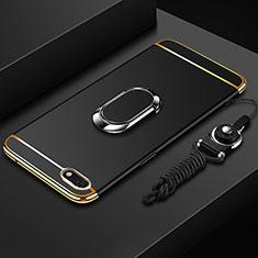 Coque Bumper Luxe Metal et Plastique Etui Housse avec Support Bague Anneau et Laniere pour Huawei Y5 Prime (2018) Noir
