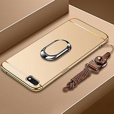 Coque Bumper Luxe Metal et Plastique Etui Housse avec Support Bague Anneau et Laniere pour Huawei Y5 Prime (2018) Or
