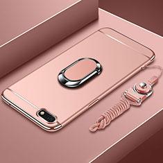 Coque Bumper Luxe Metal et Plastique Etui Housse avec Support Bague Anneau et Laniere pour Huawei Y5 Prime (2018) Or Rose