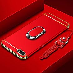 Coque Bumper Luxe Metal et Plastique Etui Housse avec Support Bague Anneau et Laniere pour Huawei Y5 Prime (2018) Rouge