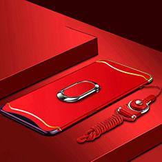 Coque Bumper Luxe Metal et Plastique Etui Housse avec Support Bague Anneau et Laniere pour Oppo Find X Rouge
