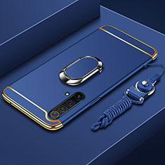 Coque Bumper Luxe Metal et Plastique Etui Housse avec Support Bague Anneau et Laniere pour Realme X3 SuperZoom Bleu