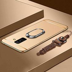 Coque Bumper Luxe Metal et Plastique Etui Housse avec Support Bague Anneau et Laniere pour Samsung Galaxy A6 Plus (2018) Or
