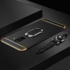 Coque Bumper Luxe Metal et Plastique Etui Housse avec Support Bague Anneau et Laniere pour Samsung Galaxy A6 Plus Noir