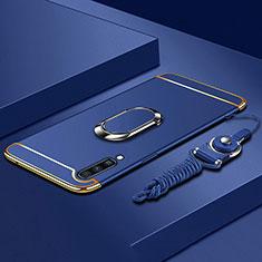Coque Bumper Luxe Metal et Plastique Etui Housse avec Support Bague Anneau et Laniere pour Samsung Galaxy A70 Bleu