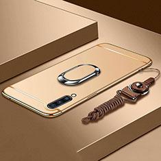 Coque Bumper Luxe Metal et Plastique Etui Housse avec Support Bague Anneau et Laniere pour Samsung Galaxy A70 Or