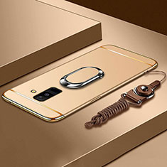 Coque Bumper Luxe Metal et Plastique Etui Housse avec Support Bague Anneau et Laniere pour Samsung Galaxy A9 Star Lite Or