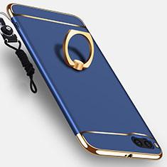 Coque Bumper Luxe Metal et Plastique Etui Housse avec Support Bague Anneau et Laniere pour Xiaomi Mi Note 3 Bleu