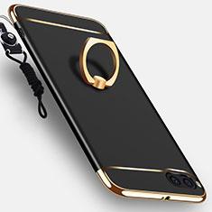 Coque Bumper Luxe Metal et Plastique Etui Housse avec Support Bague Anneau et Laniere pour Xiaomi Mi Note 3 Noir