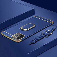 Coque Bumper Luxe Metal et Plastique Etui Housse avec Support Bague Anneau T01 pour Apple iPhone 11 Pro Max Bleu