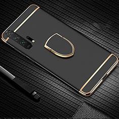 Coque Bumper Luxe Metal et Plastique Etui Housse avec Support Bague Anneau T01 pour Huawei Honor 20 Pro Noir