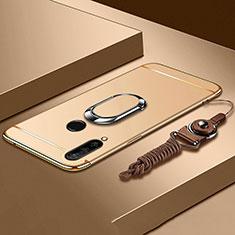 Coque Bumper Luxe Metal et Plastique Etui Housse avec Support Bague Anneau T01 pour Huawei P30 Lite Or