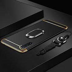 Coque Bumper Luxe Metal et Plastique Etui Housse avec Support Bague Anneau T01 pour Samsung Galaxy Note 10 5G Noir