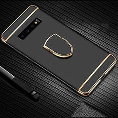 Coque Bumper Luxe Metal et Plastique Etui Housse avec Support Bague Anneau T01 pour Samsung Galaxy S10 Noir