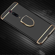 Coque Bumper Luxe Metal et Plastique Etui Housse avec Support Bague Anneau T01 pour Xiaomi Mi 9T Pro Noir