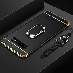 Coque Bumper Luxe Metal et Plastique Etui Housse avec Support Bague Anneau T02 pour Samsung Galaxy S10 Noir