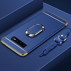 Coque Bumper Luxe Metal et Plastique Etui Housse avec Support Bague Anneau T02 pour Samsung Galaxy S10 Plus Bleu