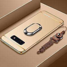 Coque Bumper Luxe Metal et Plastique Etui Housse avec Support Bague Anneau T02 pour Samsung Galaxy S10e Or