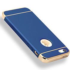 Coque Bumper Luxe Metal et Plastique Etui Housse M01 pour Apple iPhone 5 Bleu