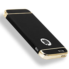 Coque Bumper Luxe Metal et Plastique Etui Housse M01 pour Apple iPhone 5S Noir