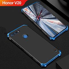 Coque Bumper Luxe Metal et Plastique Etui Housse M01 pour Huawei Honor V20 Bleu et Noir